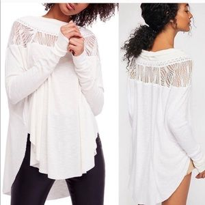 Free people spring valley lace trim thermal top